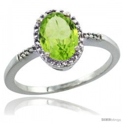 Sterling Silver Diamond Natural Peridot Ring 1.17 ct Oval Stone 8x6 mm, 3/8 in wide