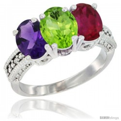 14K White Gold Natural Amethyst, Peridot & Ruby Ring 3-Stone 7x5 mm Oval Diamond Accent