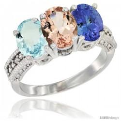 10K White Gold Natural Aquamarine, Morganite & Tanzanite Ring 3-Stone Oval 7x5 mm Diamond Accent