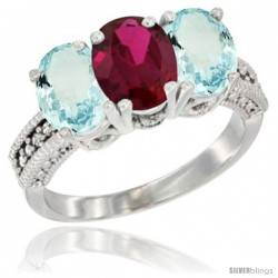 10K White Gold Natural Ruby & Aquamarine Sides Ring 3-Stone Oval 7x5 mm Diamond Accent