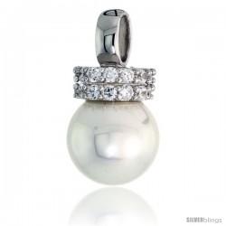 "Sterling Silver 10mm Faux Pearl Pendant, w/ Brilliant Cut CZ Stones, 9/16"" (14 mm) tall"