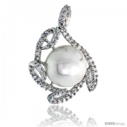 "Sterling Silver Swirl Slider Pendant, w/ CZ Stones & 12mm Faux Pearl, 1 1/8"" (29 mm) tall"