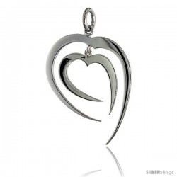 "High Polished Fancy Heart Pendant in Sterling Silver, 1 1/4"" (32 mm) tall"