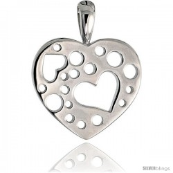 "High Polished Heart Pendant in Sterling Silver w/ Small Heart & Circle Cut Outs, 11/16"" (17 mm) tall"
