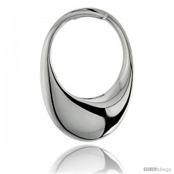 "High Polished Oval Pendant in Sterling Silver, 1"" (25 mm) tall"