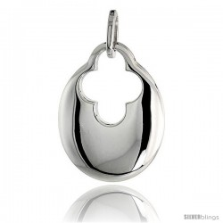 "High Polished Pear-shaped Pendant in Sterling Silver w/ Cross Cut Out, 7/8"" (23 mm) tall"