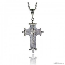 "Sterling Silver Cross Pendant, 2 9/16"" (65 mm) tall"