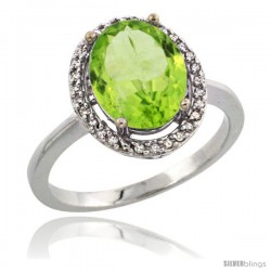 Sterling Silver Diamond Natural Peridot Ring 2.4 ct Oval Stone 10x8 mm, 1/2 in wide -Style Cwg11114