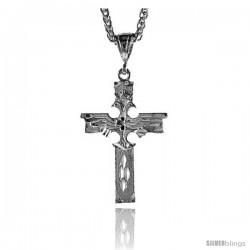 "Sterling Silver Cross Pendant, 1 13/16"" (46 mm) tall"