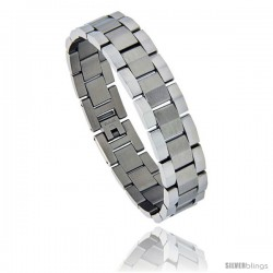 Stainless Steel Rolex Style Link Bracelet Matte Center 5/8 in wide, 8.25 in