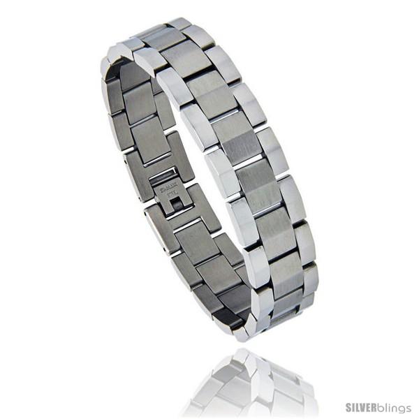 https://www.silverblings.com/830-thickbox_default/stainless-steel-rolex-style-link-bracelet-matte-center-5-8-in-wide-8-25-in.jpg