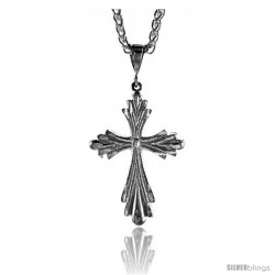 "Sterling Silver Cross Pendant, 1 7/8"" (48 mm) tall -Style Pq416"