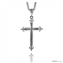 "Sterling Silver Cross Pendant, 2 5/16"" (59 mm) tall -Style Pq424"