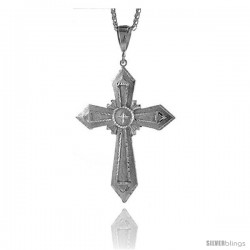 "Sterling Silver Cross Pendant, 3 11/16"" (94 mm) tall"