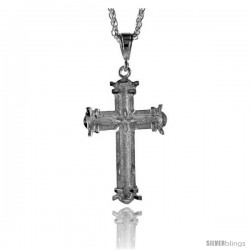 """Sterling Silver Cross Pendant, 2 5/16"""" (59 mm) tall -Style Pq427"""