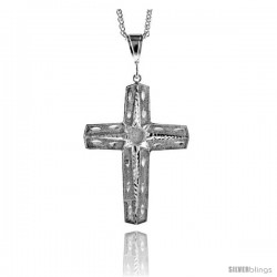 "Sterling Silver Cross Pendant, 3 1/8"" (79 mm) tall"