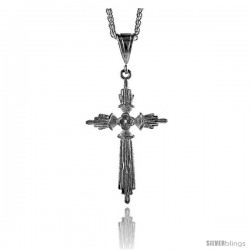 "Sterling Silver Cross Pendant, 2 1/2"" (63 mm) tall"