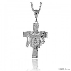 "Sterling Silver Cross Pendant with Jesus Face in the Garment, 2 3/8"" (60 mm) tall"