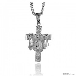 "Sterling Silver Cross Pendant with Jesus Face in the Garment, 1 3/4"" (41 mm) tall"