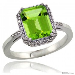 Sterling Silver Diamond Natural Peridott Ring 2.53 ct Emerald Shape 9x7 mm, 1/2 in wide
