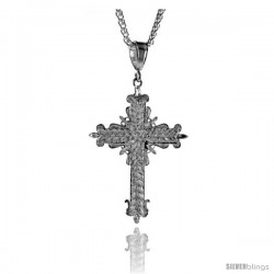 "Sterling Silver Cross Pendant, 2 5/16"" (59 mm) tall -Style Pq438"