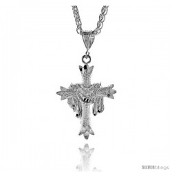 "Sterling Silver Cross Pendant with Jesus Garment, 1 5/8"" (41 mm) tall"
