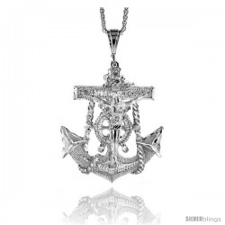 "Sterling Silver Anchor with Crucifix Pendant, 3 3/16"" (80 mm) tall"