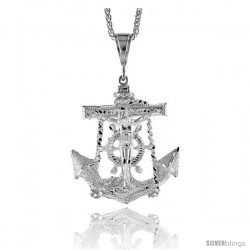"Sterling Silver Anchor with Crucifix Pendant, 2 9/16"" (65 mm) tall"