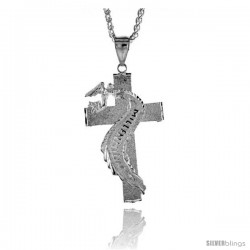 "Sterling Silver Cross Pendant with Angel, 2 9/16"" (65 mm) tall"