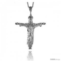 "Sterling Silver Crucifix Pendant, 3 7/8"" (98 mm) tall"