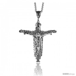 "Sterling Silver Crucifix Pendant, 3 1/16"" (78 mm) tall"