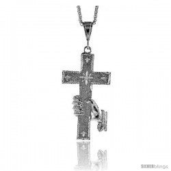 "Sterling Silver Cross Pendant, 3"" (77 mm) tall"