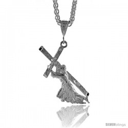 "Sterling Silver Jesus Carrying the Cross Pendant, 1 7/8"" (47 mm) tall"