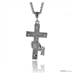 "Sterling Silver Cross Pendant, 2 1/16"" (52 mm) tall -Style Pq457"