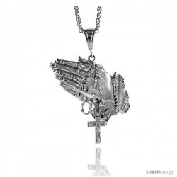 "Sterling Silver Praying Hand Pendant, 2 5/8"" (67 mm) tall"