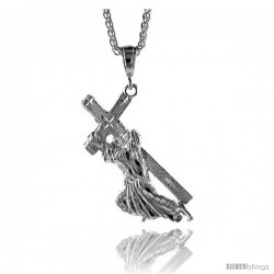 "Sterling Silver Jesus Carrying the Cross Pendant, 2 5/8"" (67 mm) tall"