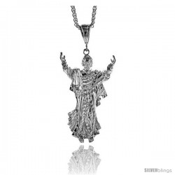 "Sterling Silver Jesus Pendant, 2 11/16"" (88 mm) tall"