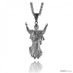 "Sterling Silver Jesus Pendant, 1 3/4"" (45 mm) tall"