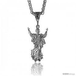 "Sterling Silver Small Jesus Pendant, 1 5/16"" (33 mm) tall"