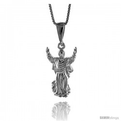 "Sterling Silver Small Jesus Pendant, 7/8"" (23 mm) tall"