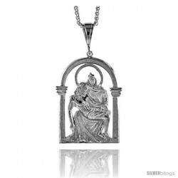 "Sterling Silver Mary and Jesus Pendant, 2 5/8"" (67 mm) tall"