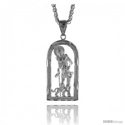 "Sterling Silver St. Lazarus Pendant, 1 13/16"" (47 mm) tall"
