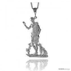 "Sterling Silver St. Lazarus Pendant, 3 7/8"" (98 mm) tall"