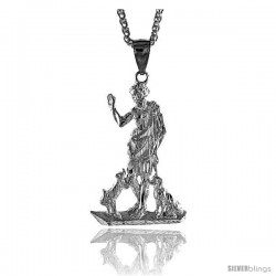 "Sterling Silver St. Lazarus Pendant, 2 3/8"" (60 mm) tall"