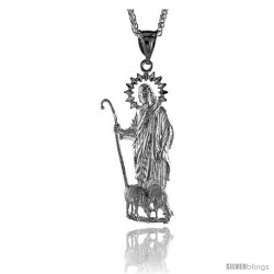 "Sterling Silver St. Lazarus Pendant, 2 3/4"" (70 mm) tall"