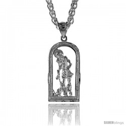 "Sterling Silver Small St. Lazarus Pendant, 1 1/4"" (32 mm) tall"