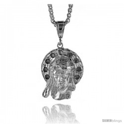 "Sterling Silver Jesus Face Pendant, 1 9/16"" (40 mm) tall"