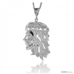 "Sterling Silver Jesus Face Pendant, 3 1/4"" (85 mm) tall"