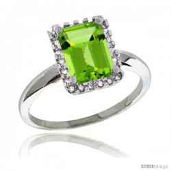 Sterling Silver Diamond Natural Peridot Ring 1.6 ct Emerald Shape 8x6 mm, 1/2 in wide