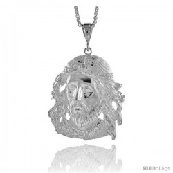 "Sterling Silver Jesus Face Pendant, 2 15/16"" (75 mm) tall"
